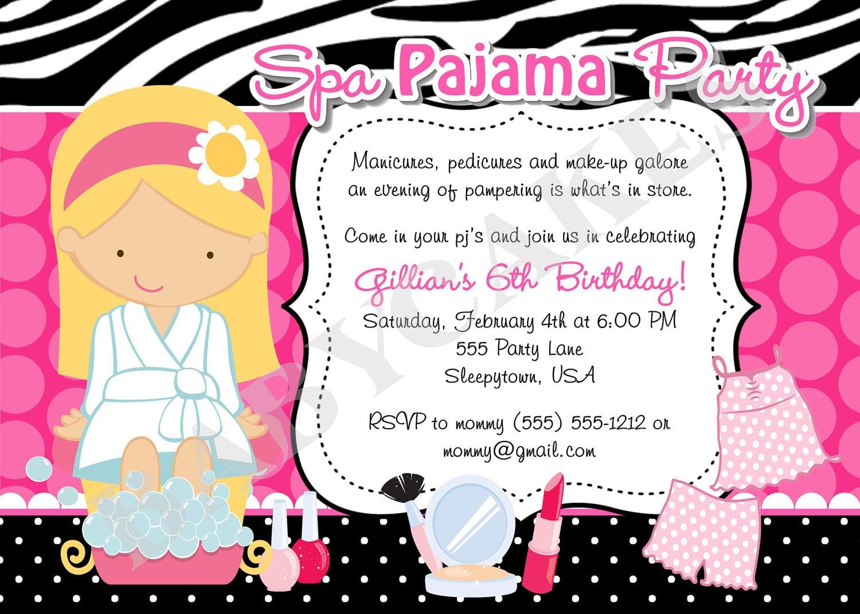 Spa Pajama Party Invitation Invite Spa Party Sleepover Spa Day