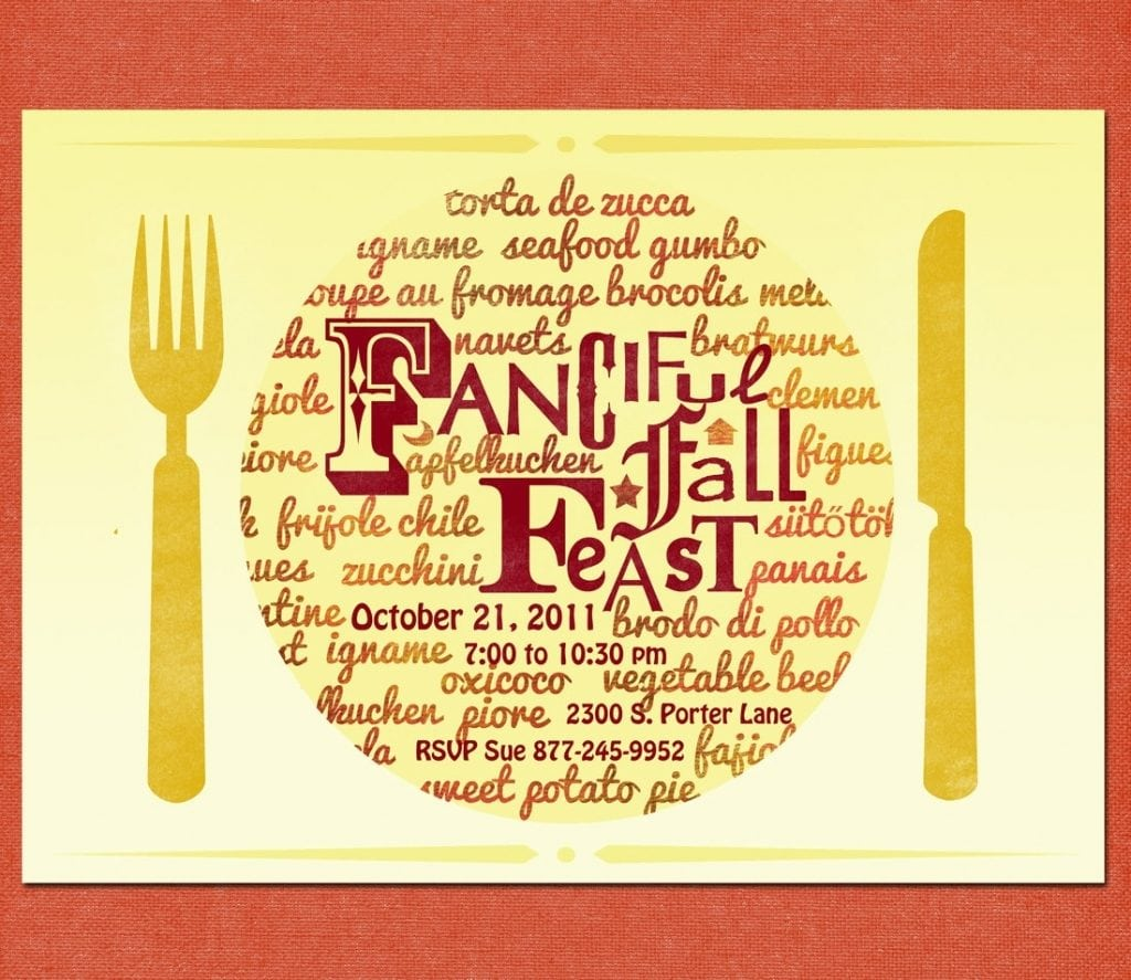 Spanish Party Invitation Dinner Party Invitation Fall Feast With