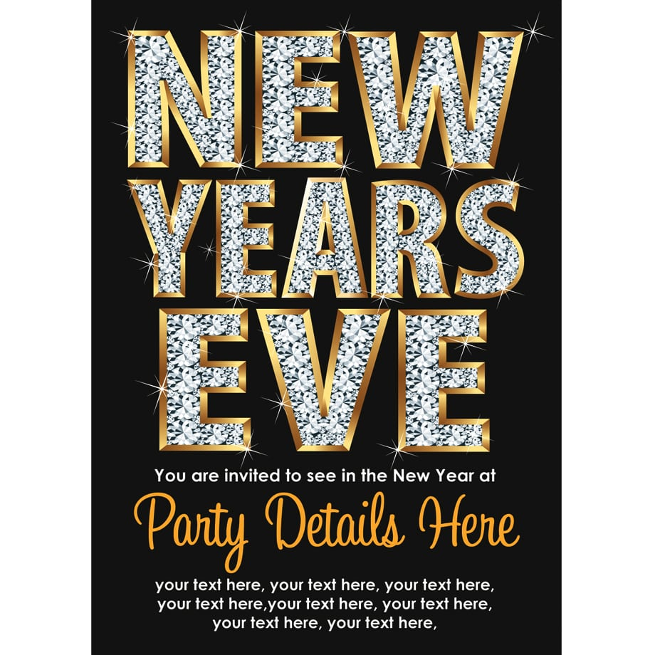 Sparkling Personalised New Years Eve Party Celebration Invites