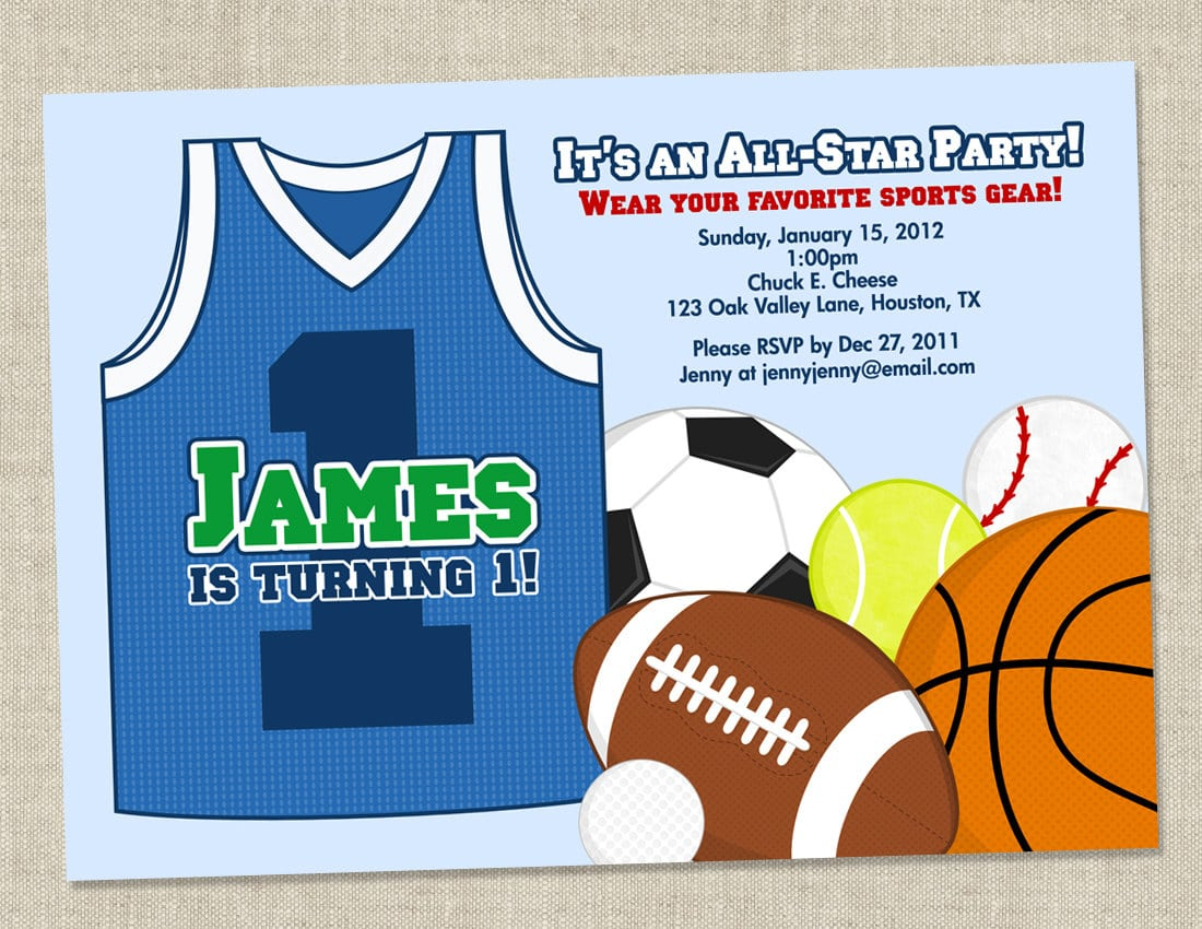 Sports Basket Ball Themed Birthday Party Invitation Card With