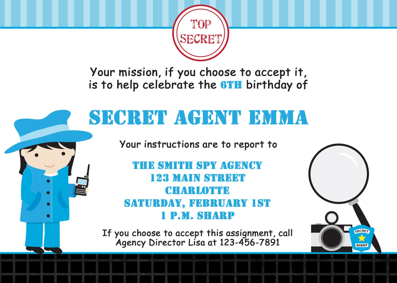 Spy Birthday Party Invitation Spy Party Invitation Spy Party