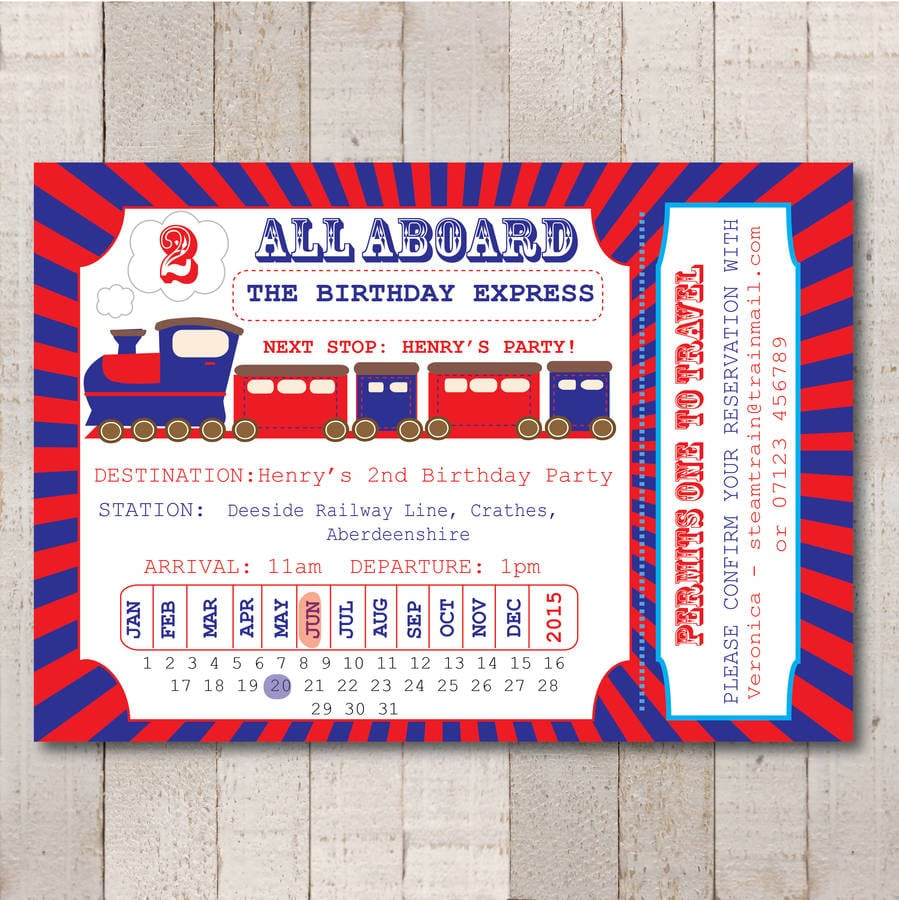 Steam Train Ticket Party Invitation By Rock, Paper, Stars