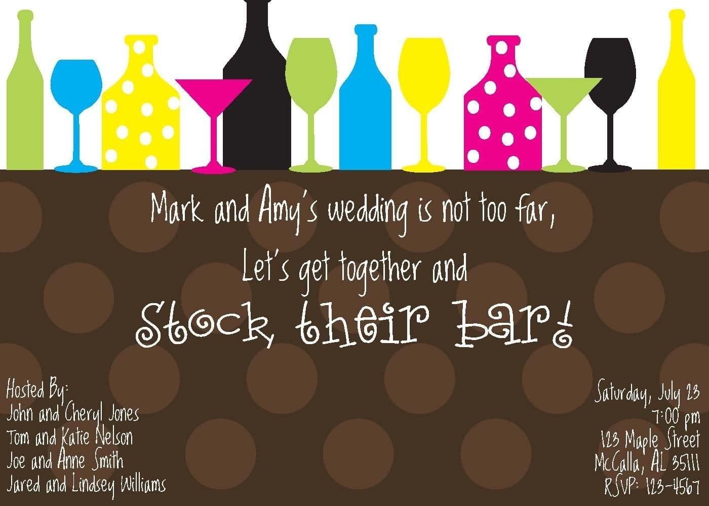 Stock The Bar Invitation Stock The Bar Wedding Party