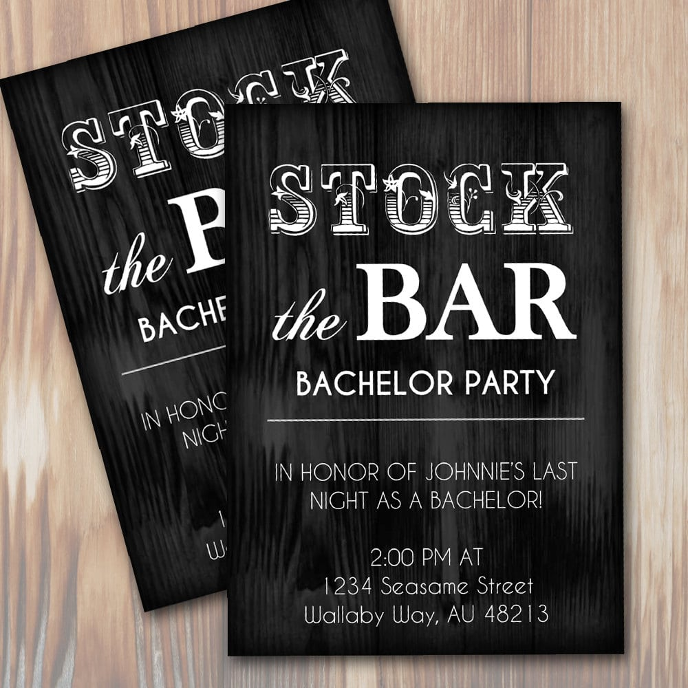Stock The Bar Rustic Bachelor Party Invitation Instant
