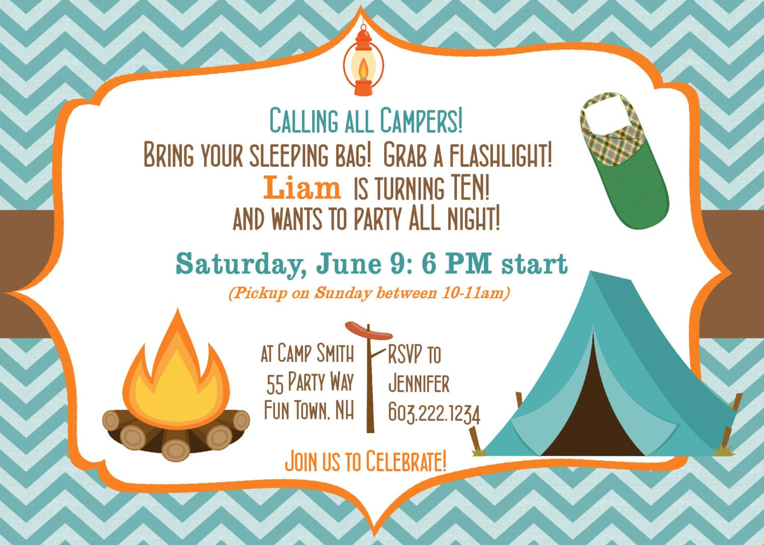 Stylish Camping Out Birthday Party Invitation With Blue Zigzag