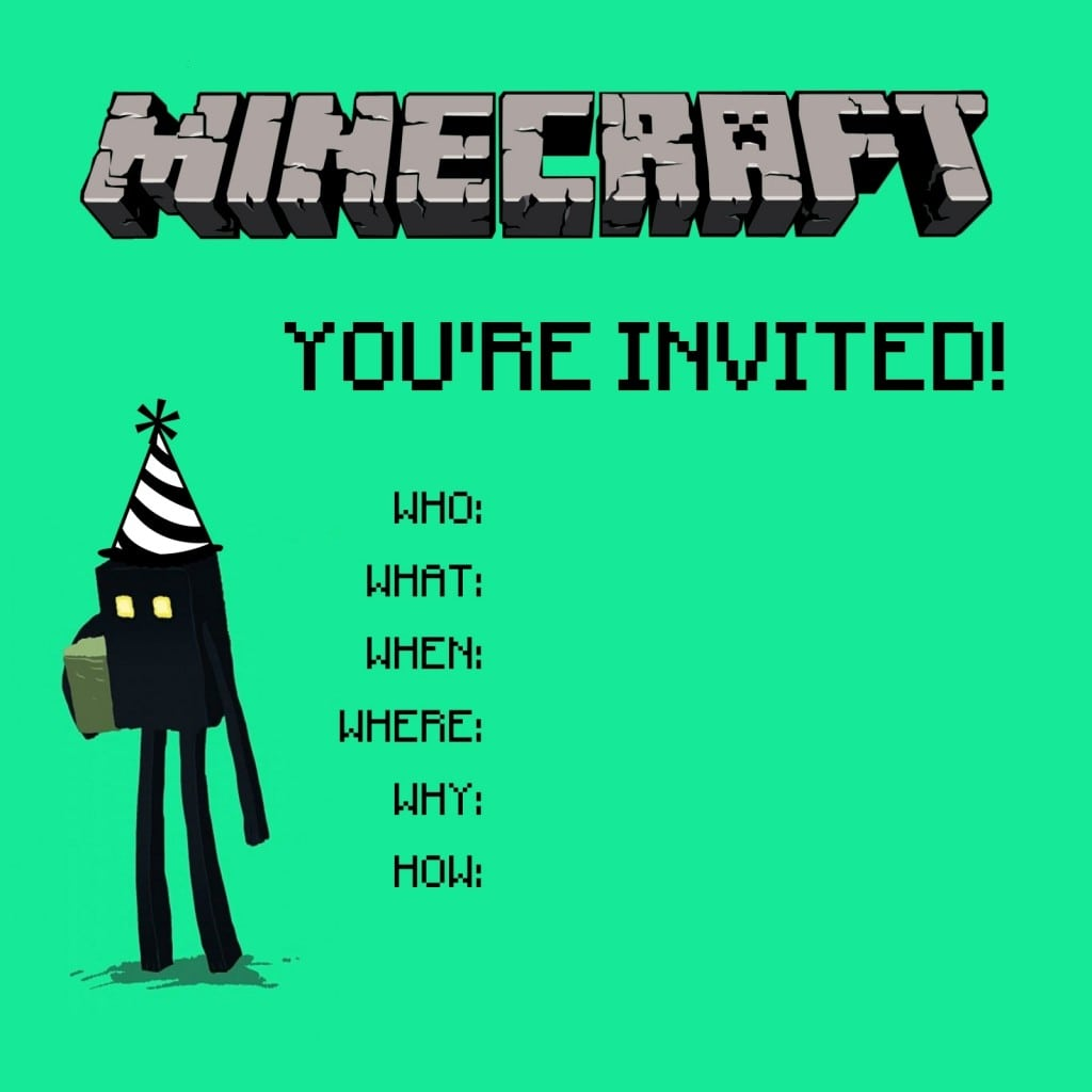 Stylish Minecraft Party Invitations For Additional Party