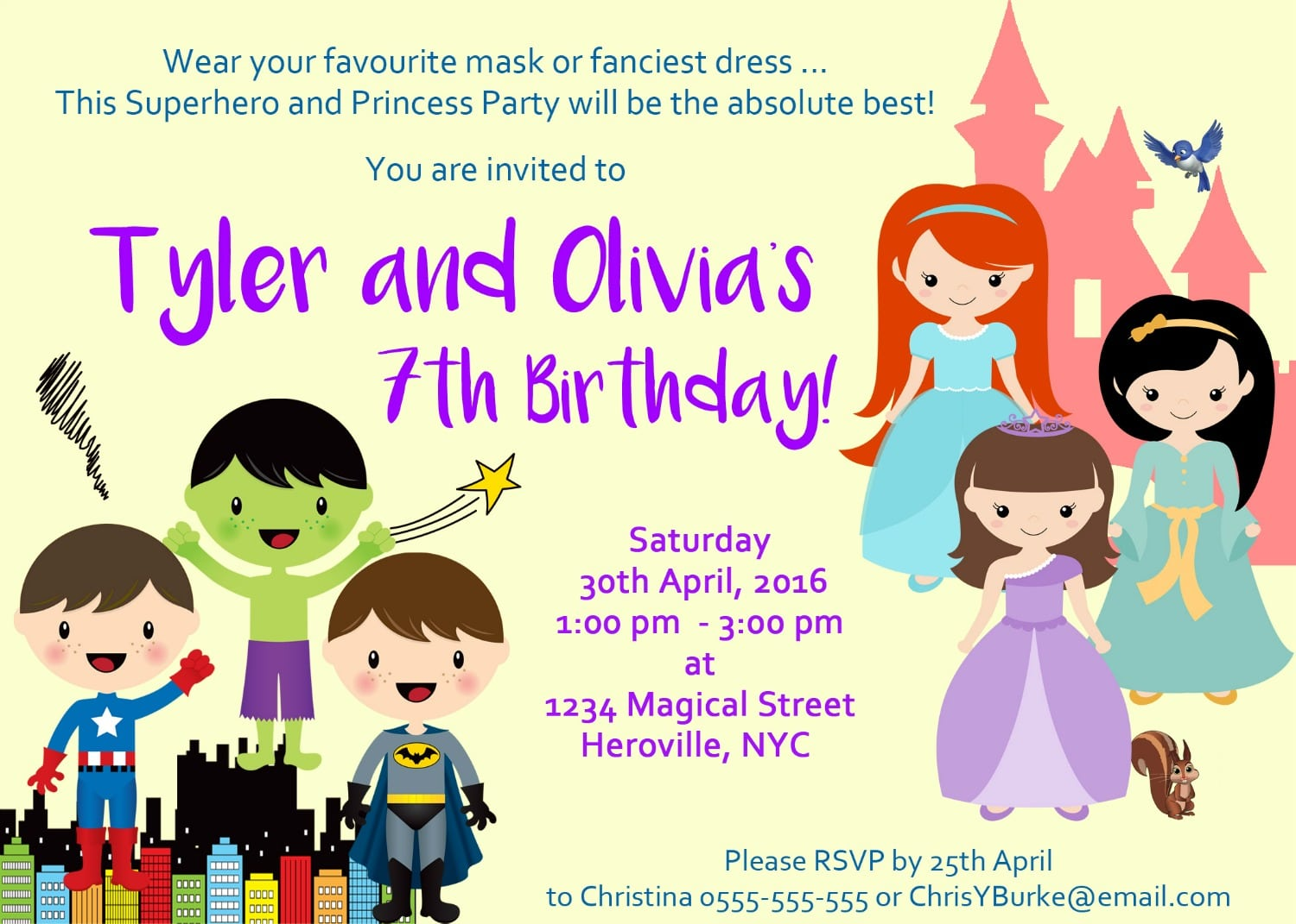 Superhero & Princess Party Invitation
