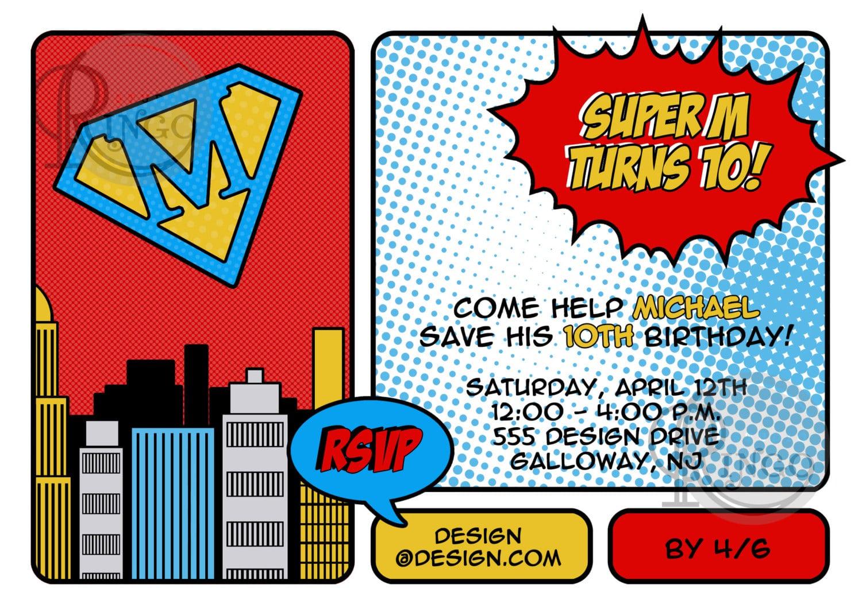Superhero Birthday Invitations Wording