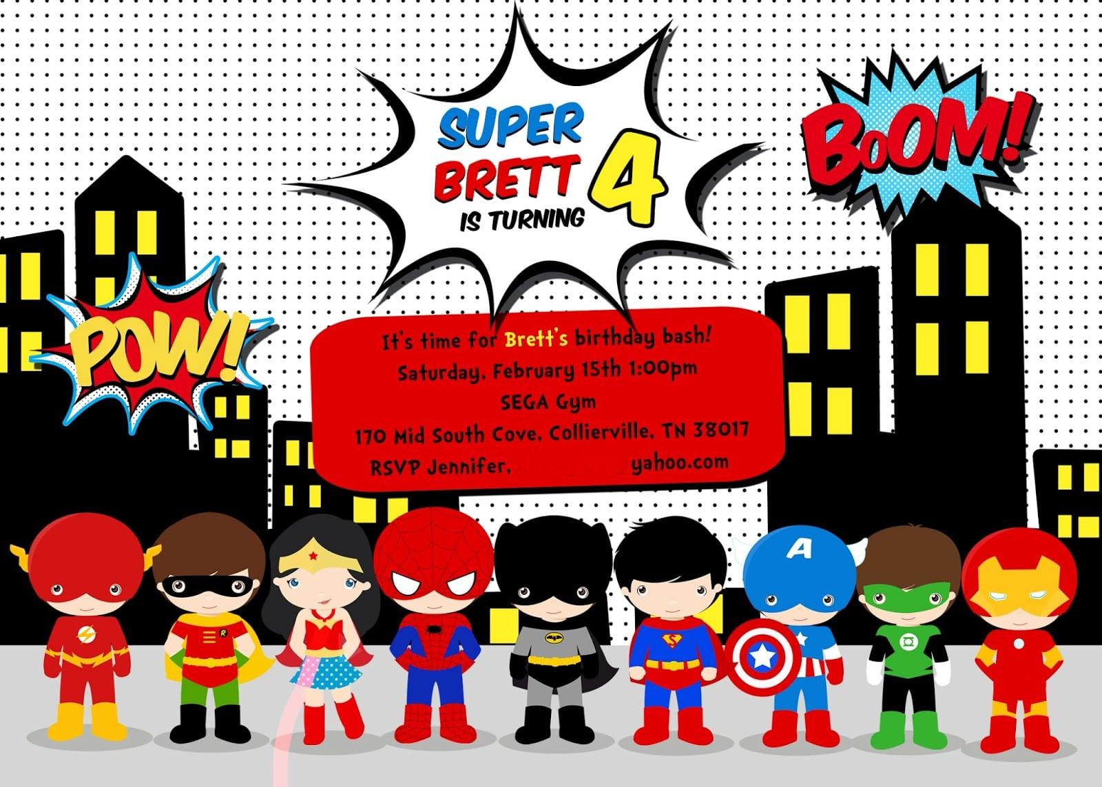 Superhero Invitations Template