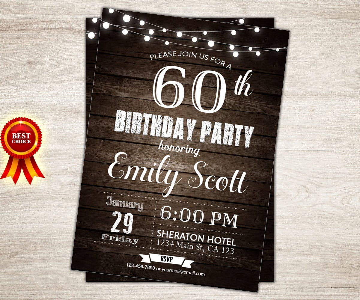 Surprise 60th Birthday Invitation  Man Surprise Birthday Party