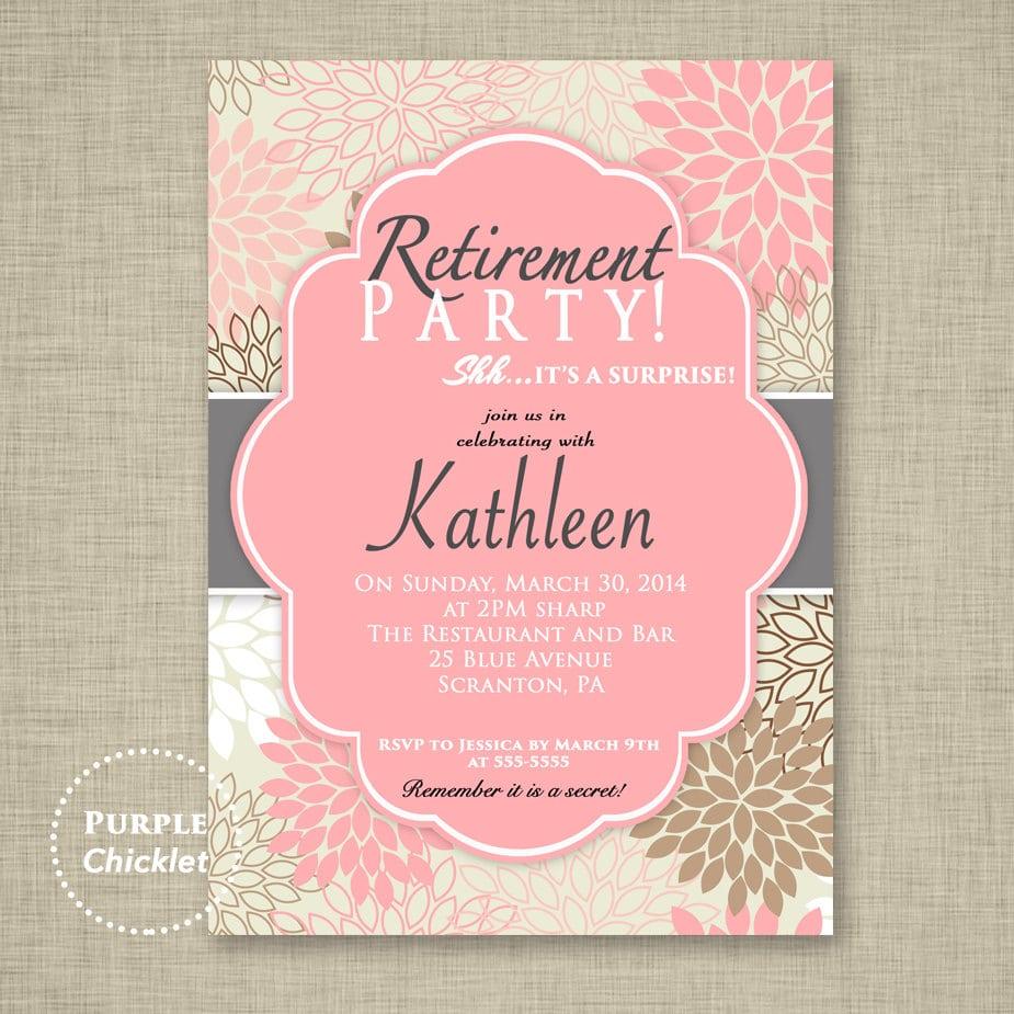 Surprise Retirement Party Invitation Pink Adult Surprise Party