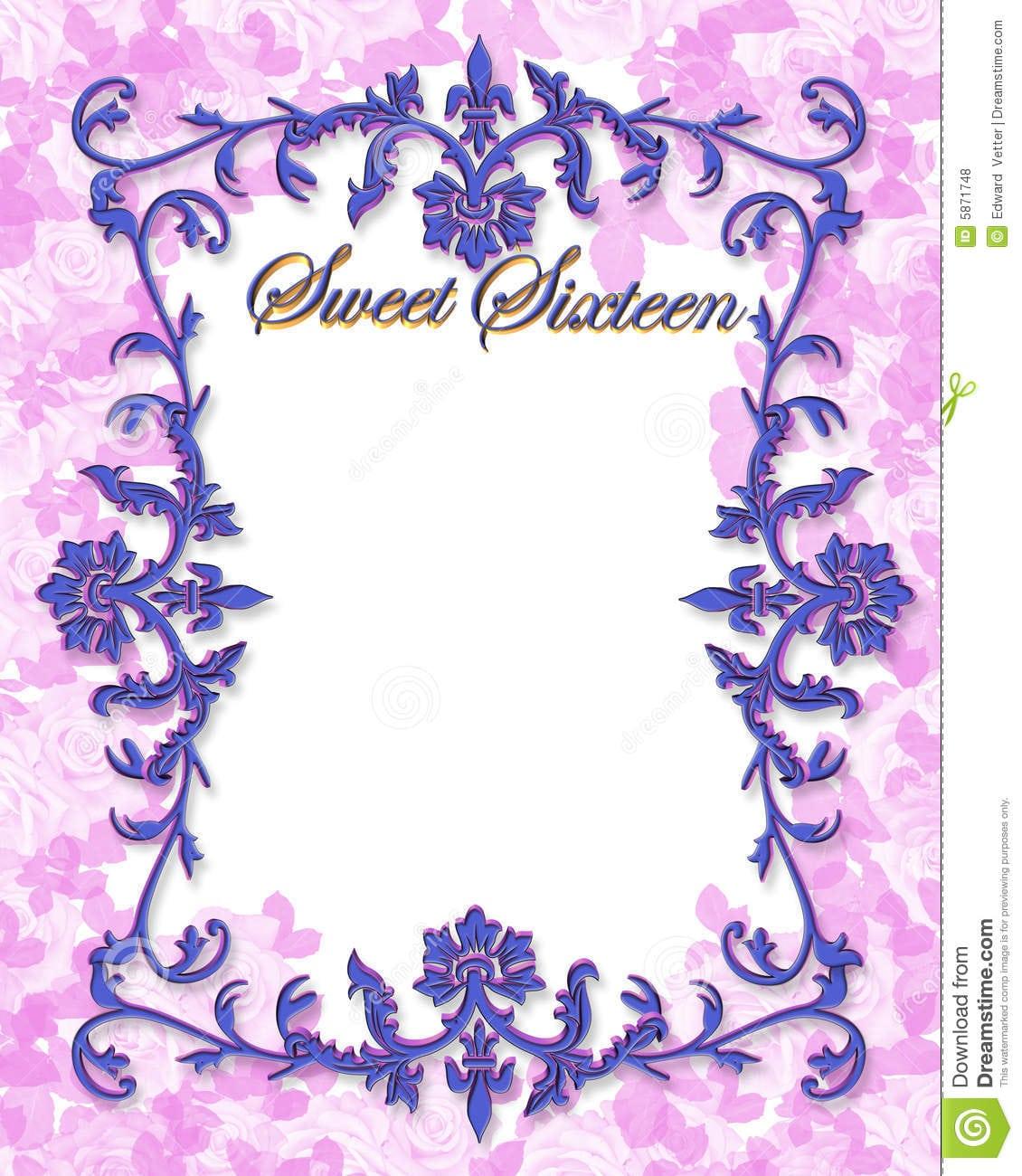 Sweet 16 Party Invitation Stock Illustration  Illustration Of