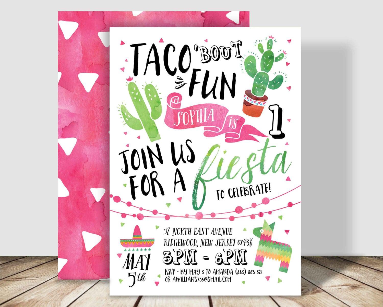 Taco 'bout Fun Fiesta Birthday Party Invitation 5x7