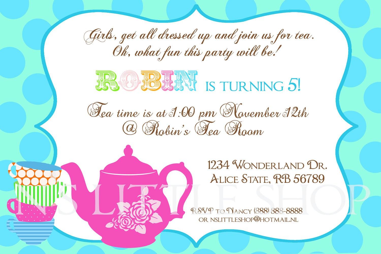 Tea Party Invitation Wording Tea Party Invitation Wording In