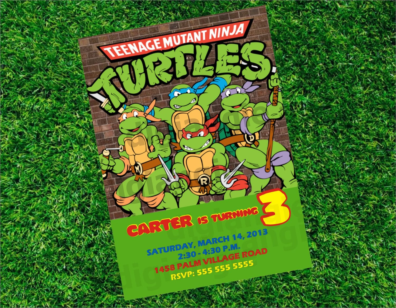 Teenage Mutant Ninja Turtles Birthday Invitations Ninja