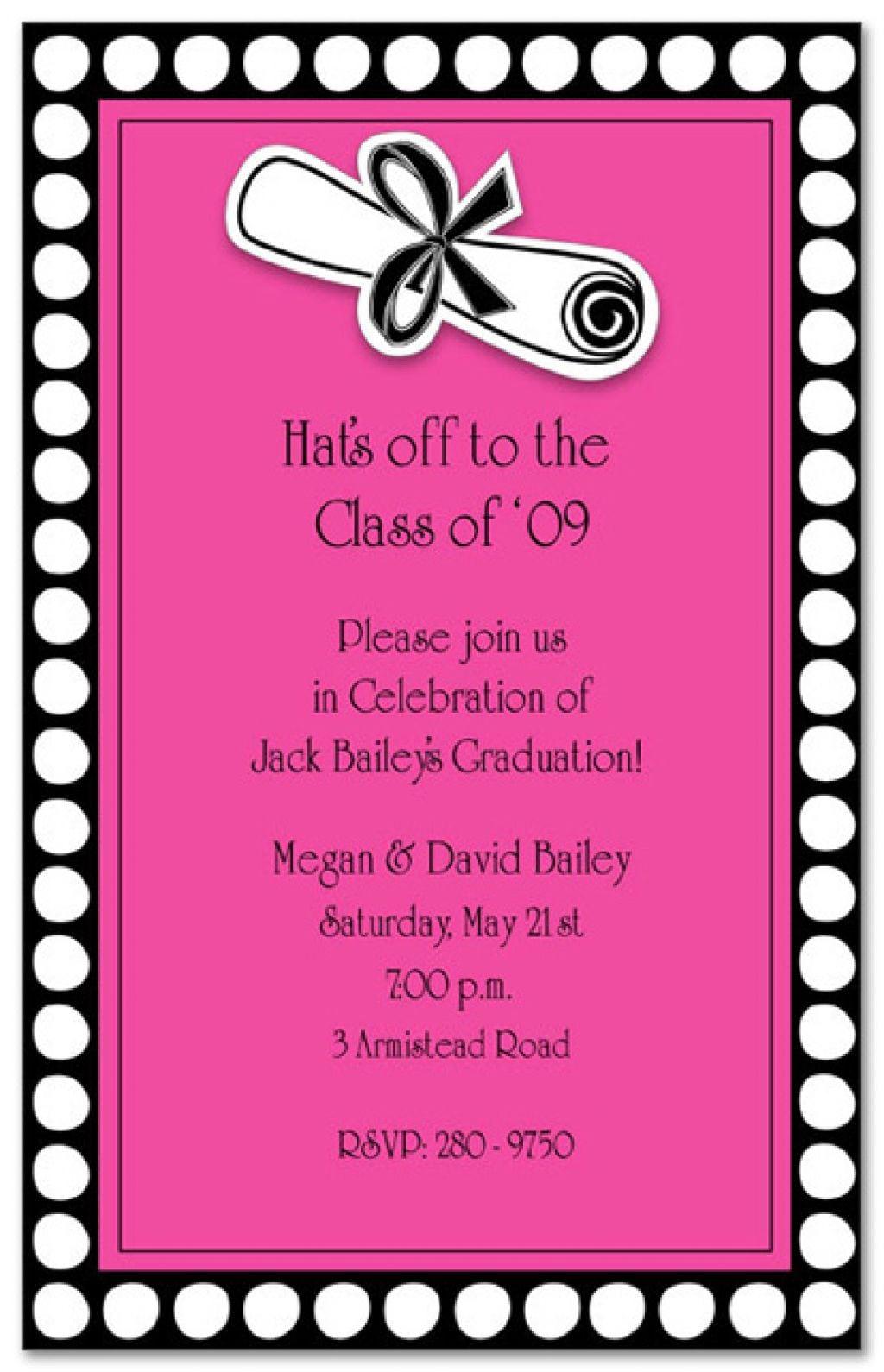 Templates   Clasic Fun College Graduation Party Invitation Wording