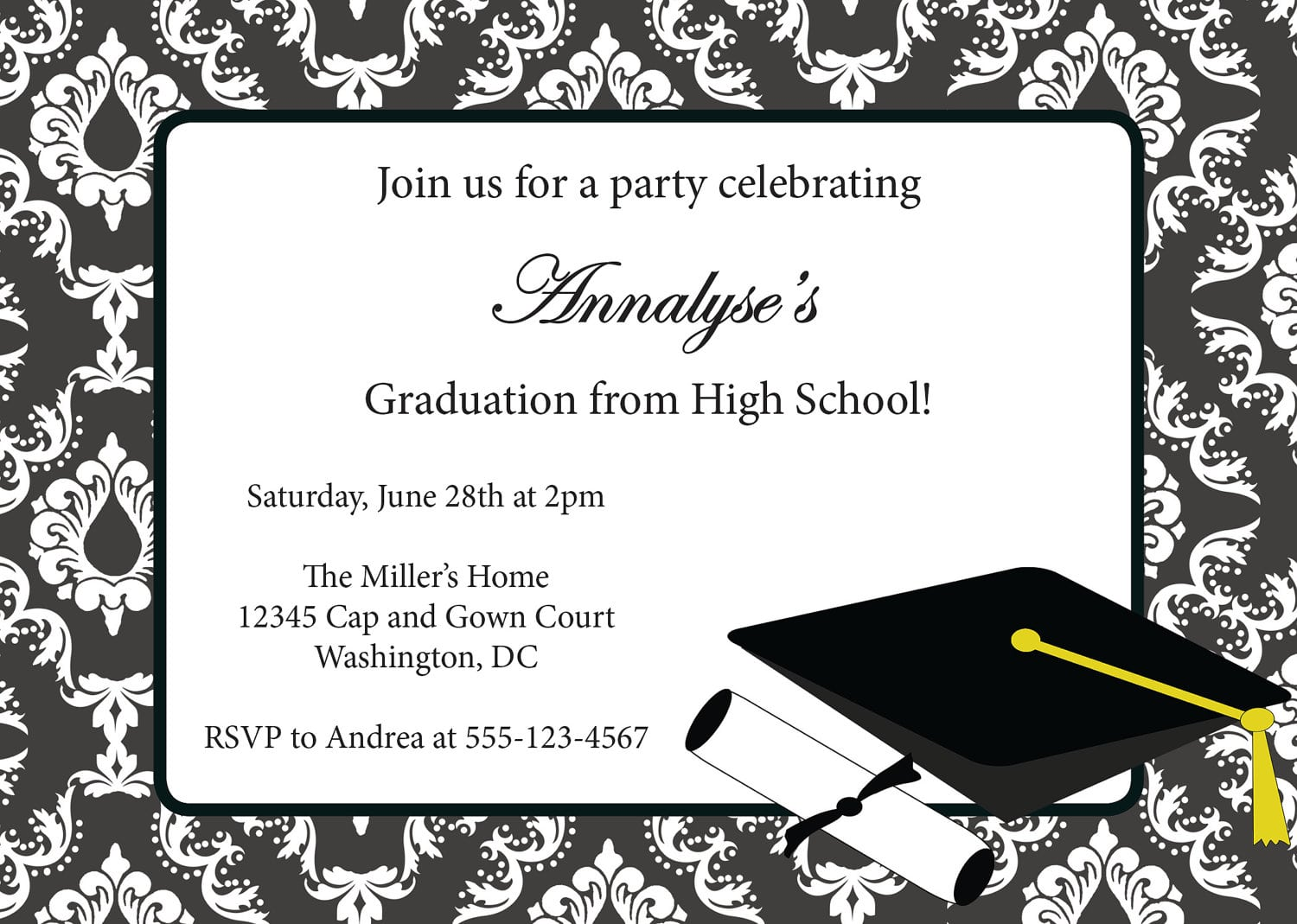 Templates   Sophisticated Graduation Party Invitations Mickey Mouse Invitations Templates