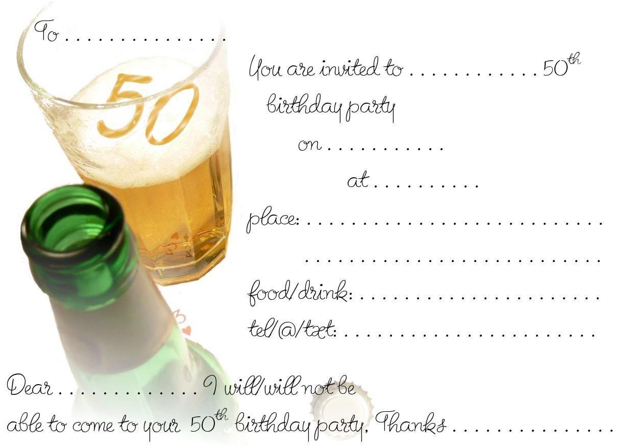 Templates For 50th Birthday Invitations Free Printable