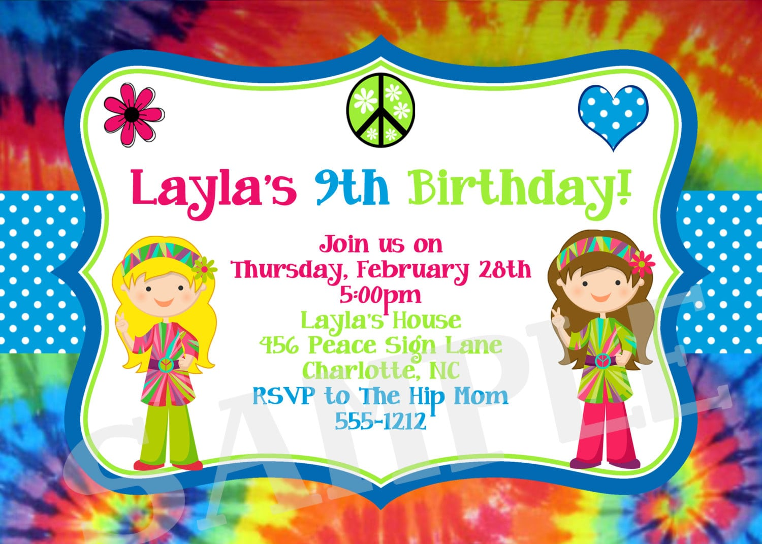 Tie Dye Birthday Party Invitations