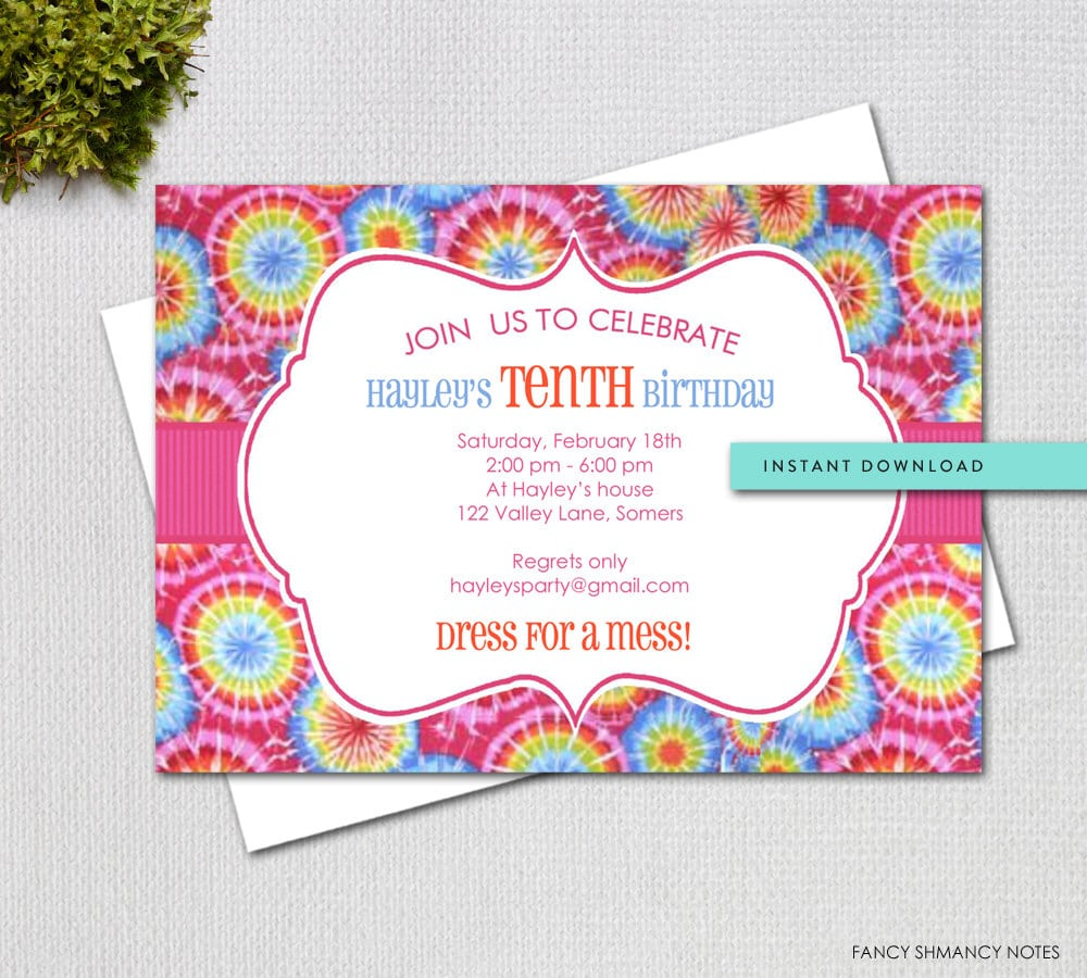 Tie Dye Invitation Template   Instant Download   Digital Party