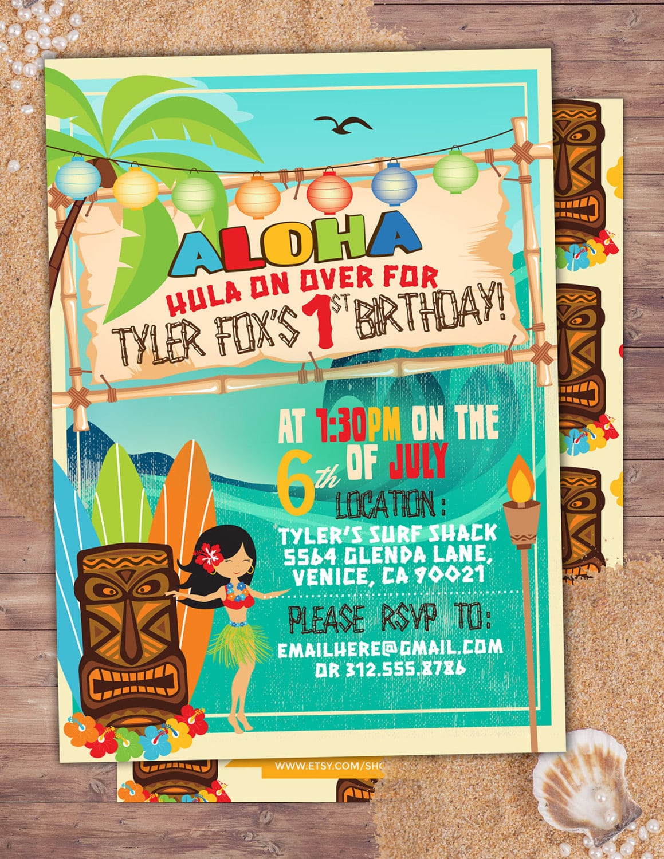Tiki Party, Hawaii Invitation, Pool Party Invitation, Surfer
