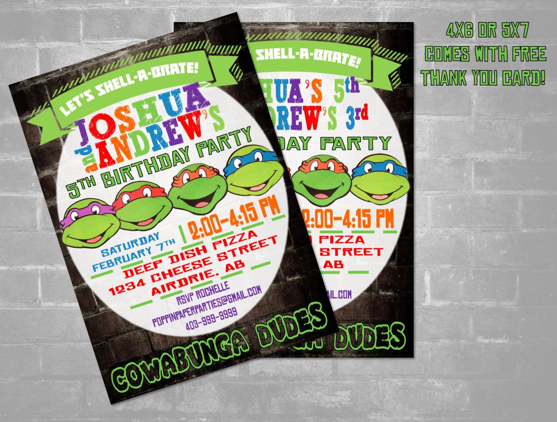 Tmnt Ninja Turtle Invitation Twins Ninja Turtles Invitation