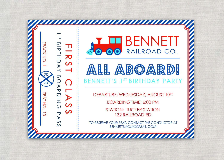 Train Birthday Invitations Etsy