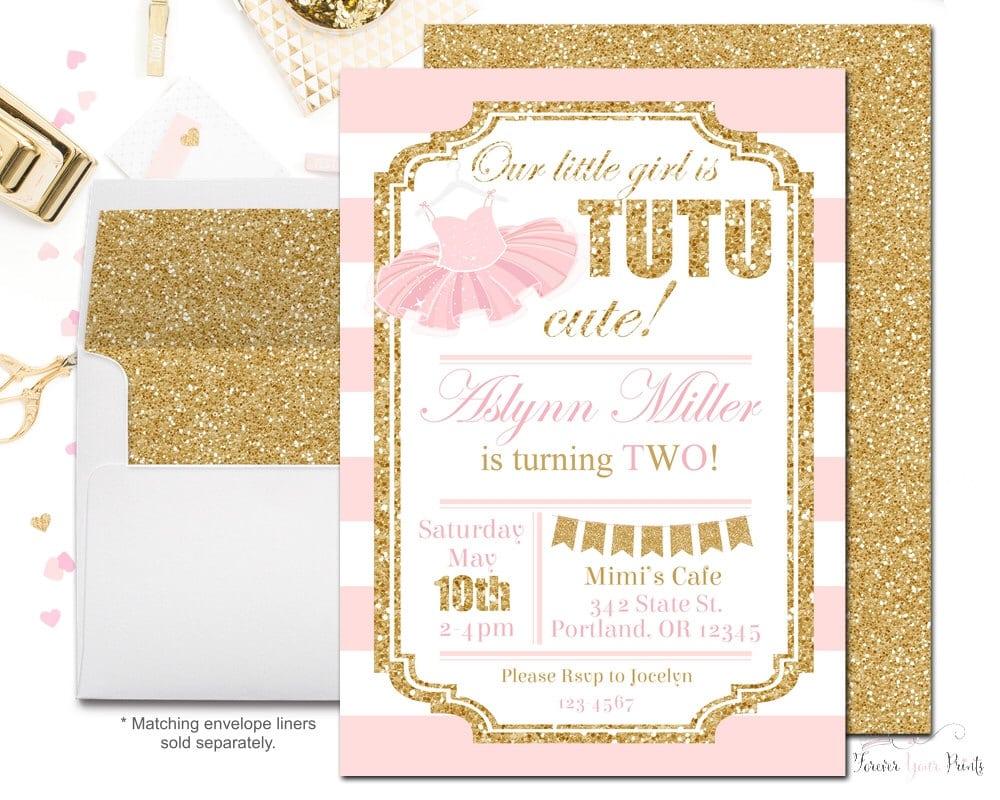 Tutu Birthday Party Invitations, Girls Birthday Party Invitations
