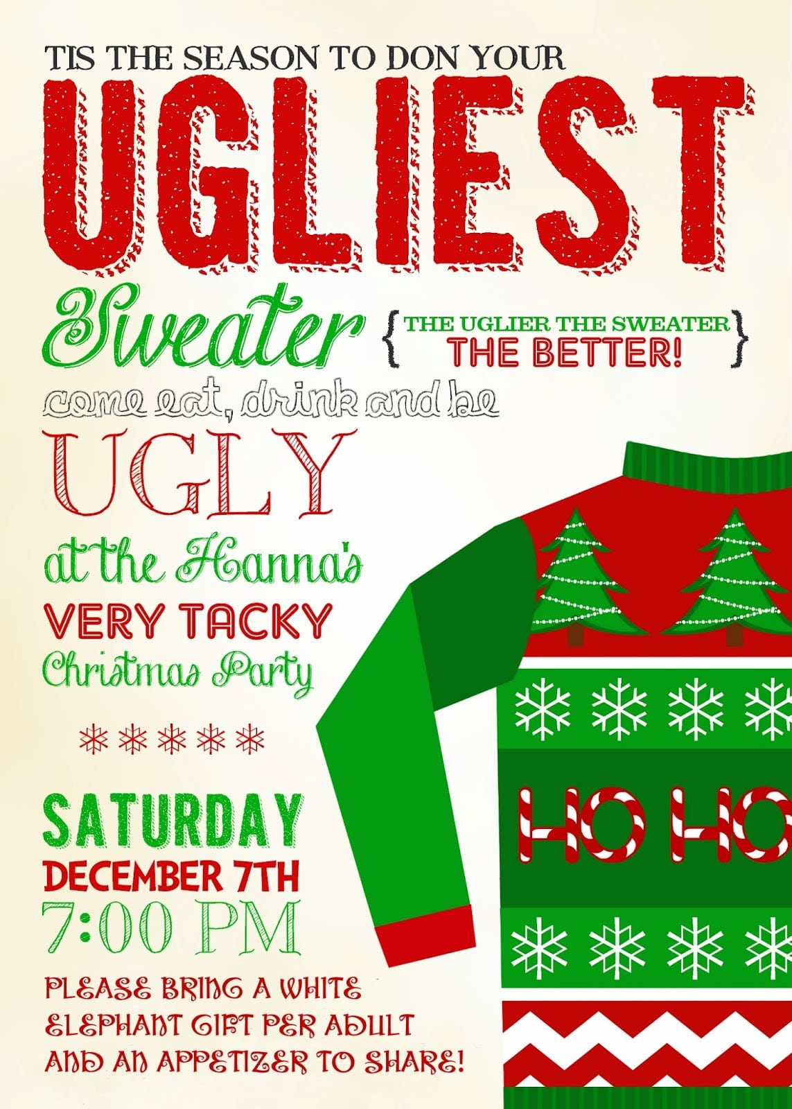 Ugly Christmas Sweater Invitation Wording – Happy Holidays!