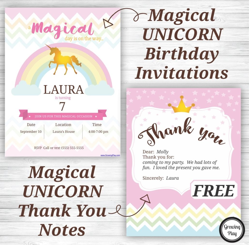 Unicorn Birthday Party Invitations And Thank You Notes