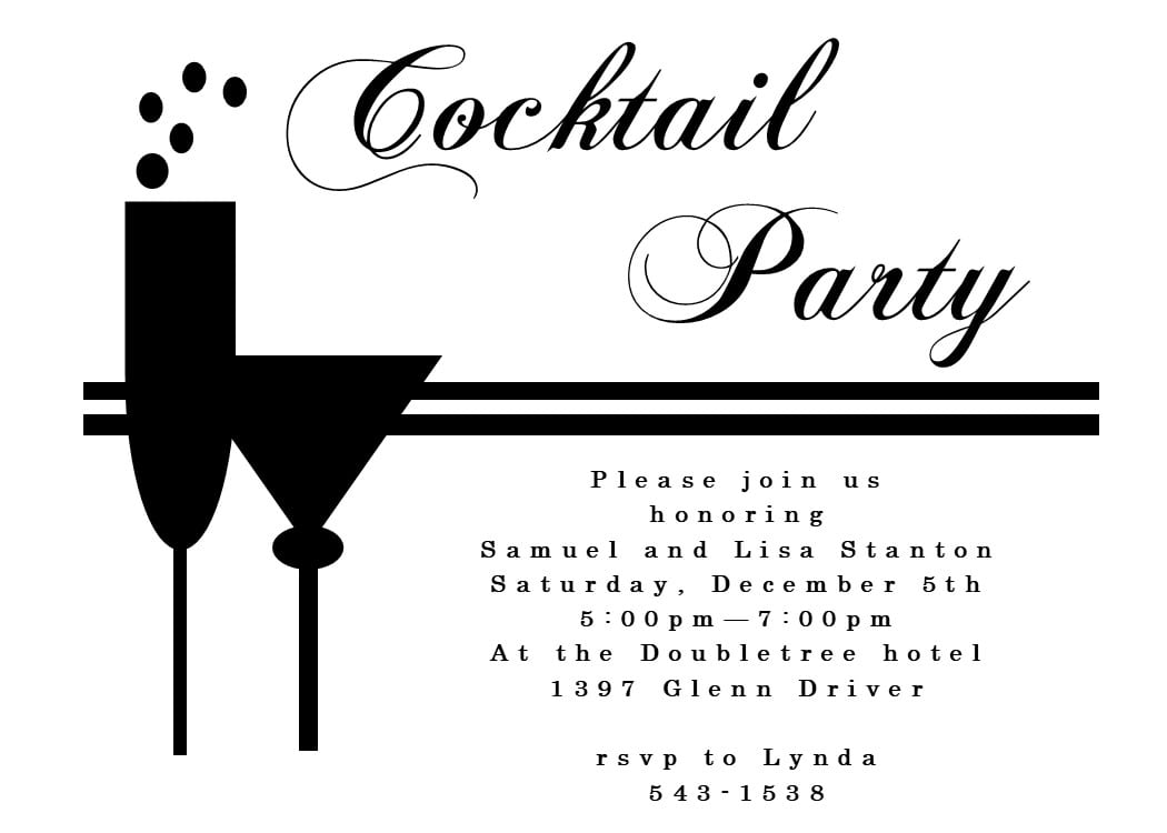 Unique Cocktail Party Invitation Custom Created For Partiers Who