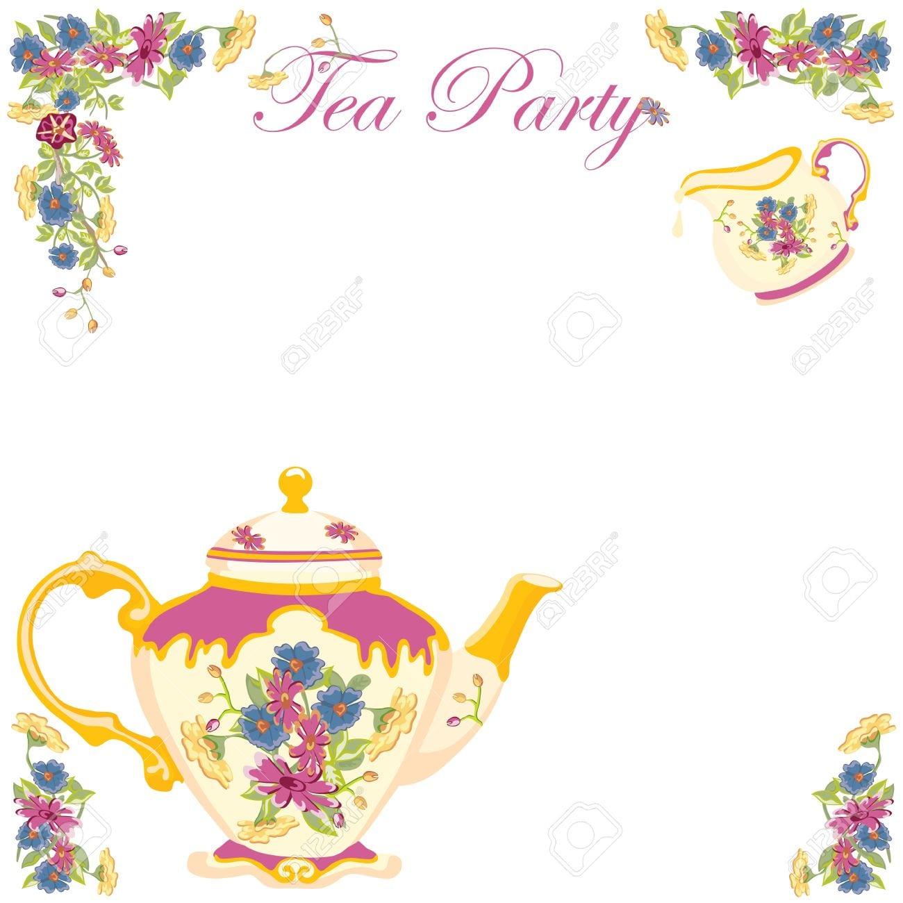 Victorian Tea Pot Tea Party Invitation Royalty Free Cliparts
