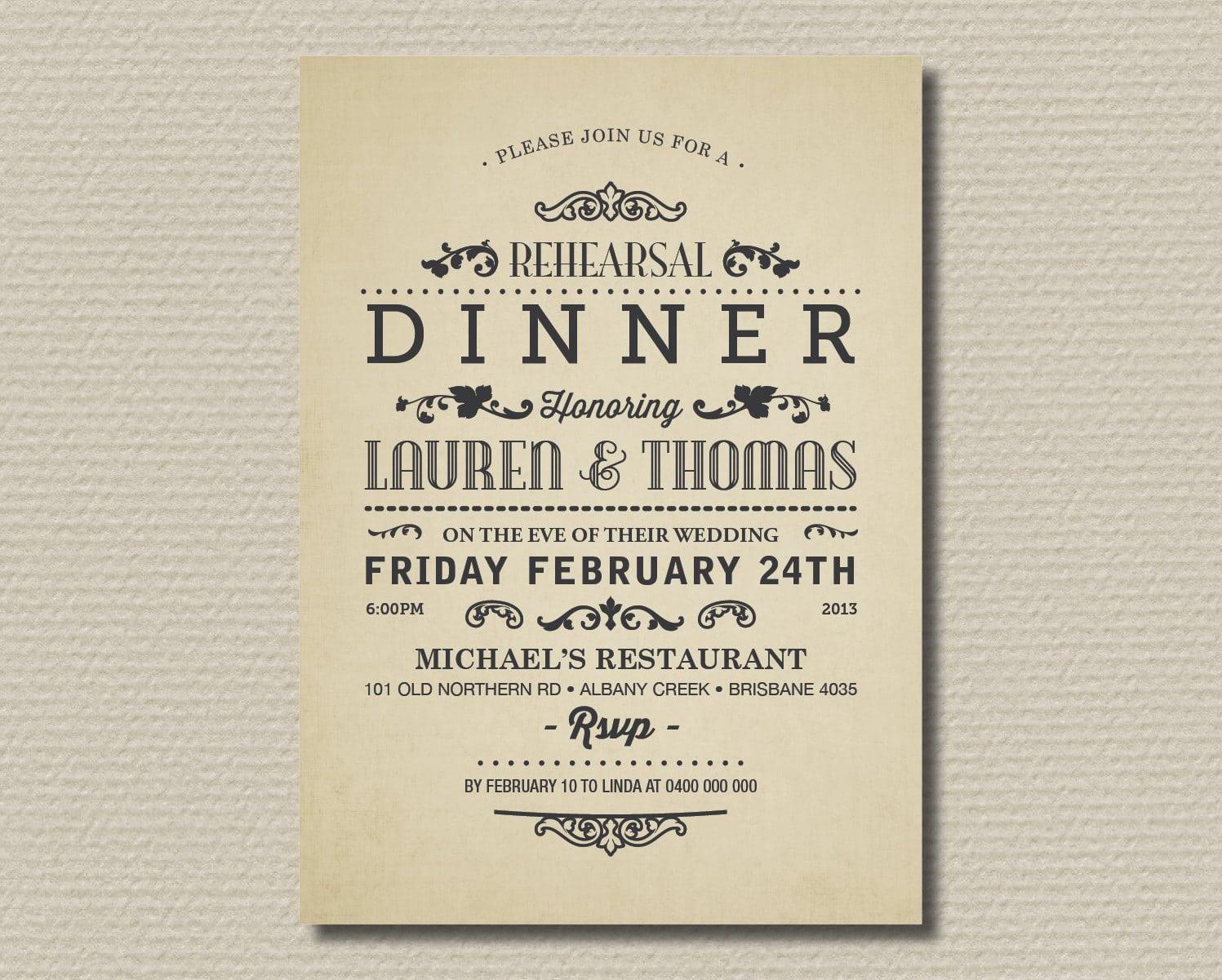 Vintage Appreciation Dinner Invitation Design With Cream