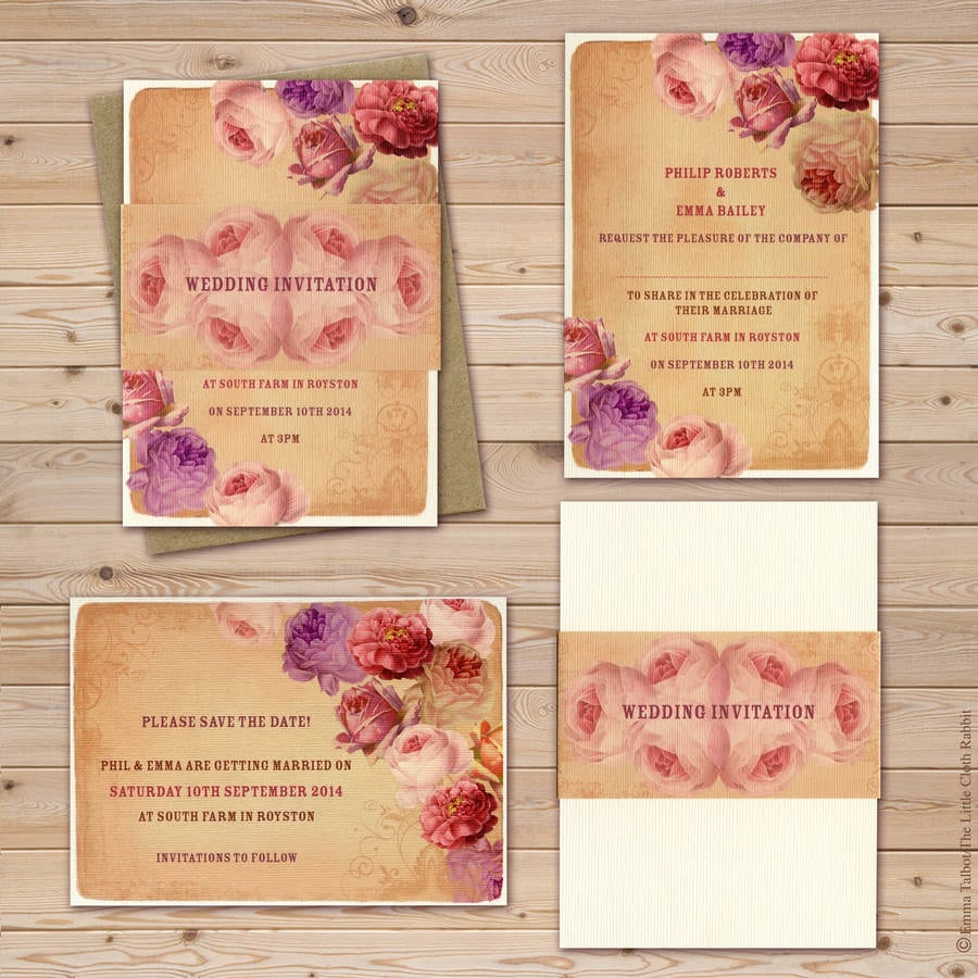 Vintage Rose Garden Tea Party Wedding Invitations By The Little