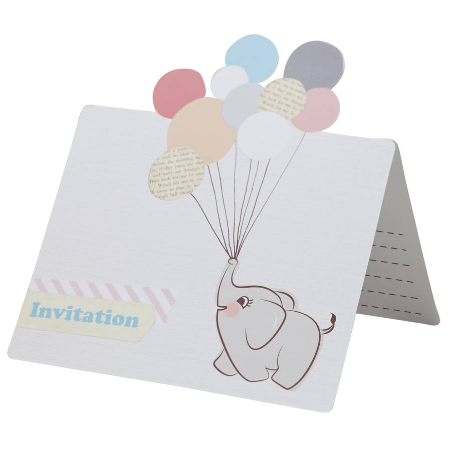 Vintage Themed Baby Elephant Party Invitations