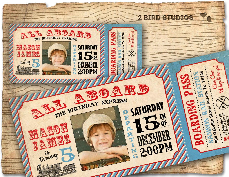 Vintage Train Invitation Train Ticket Invitation For