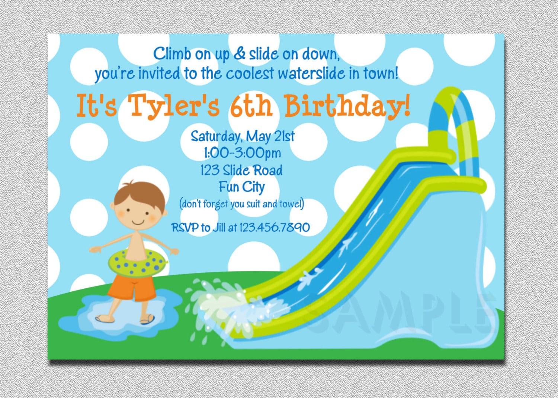 Waterslide Birthday Invitations Water Slide Birthday Party