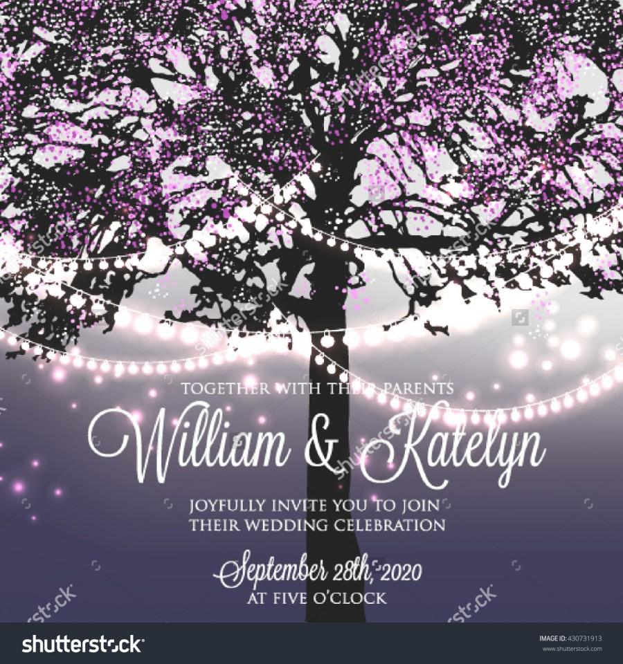 Wedding Invitation With Glowing Lights On The Tree  Garden Party