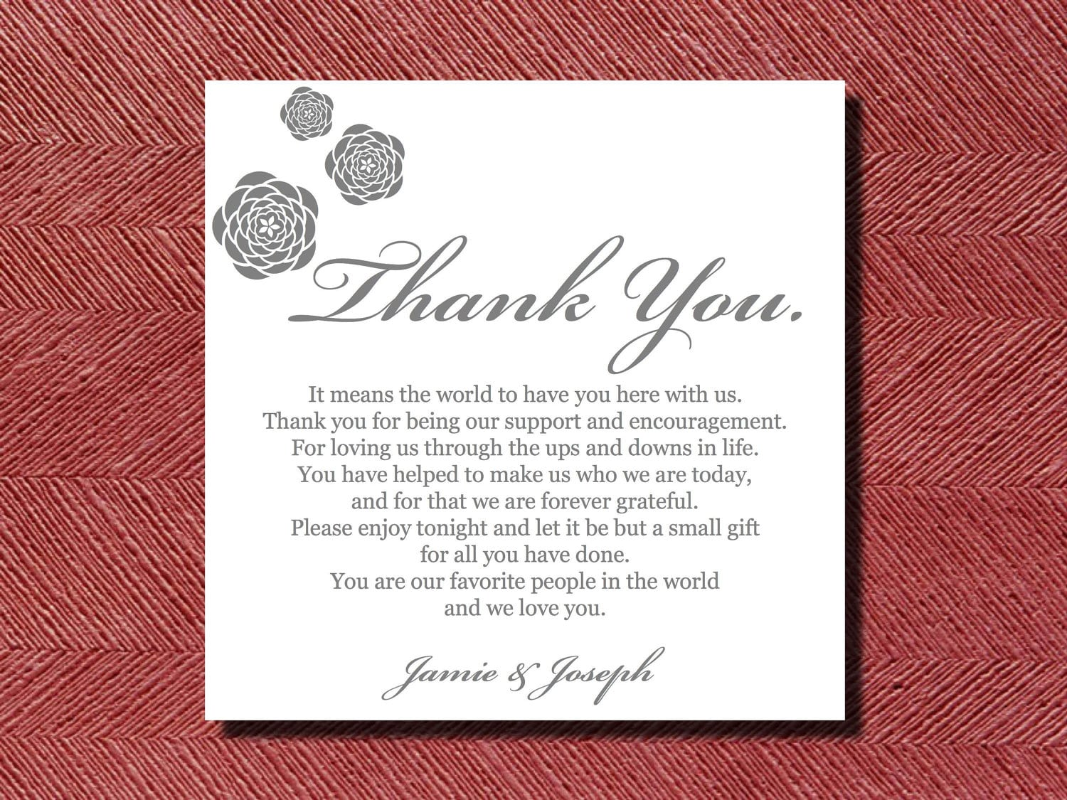 Wedding Reception Thank You Place Setting Card