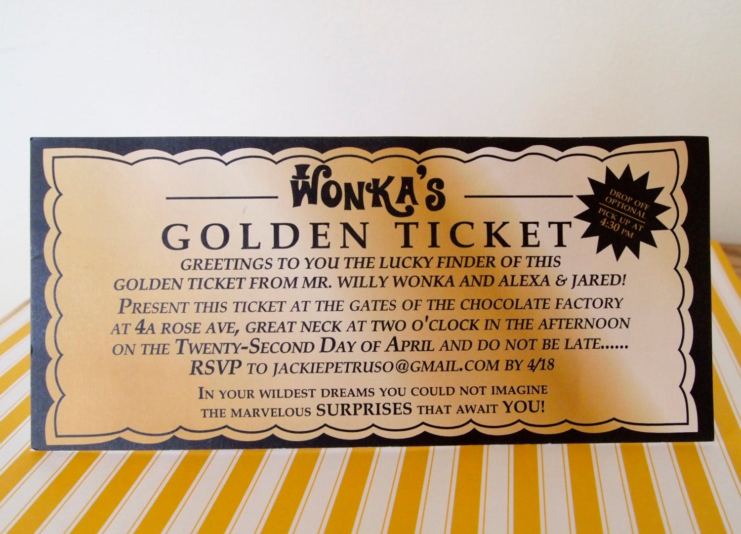 Willy Wonka Golden Ticket Invitation Digital Printable