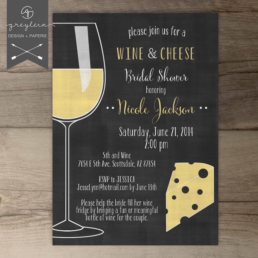 Wine And Cheese Invitations   Chalkboard   Dinner Party