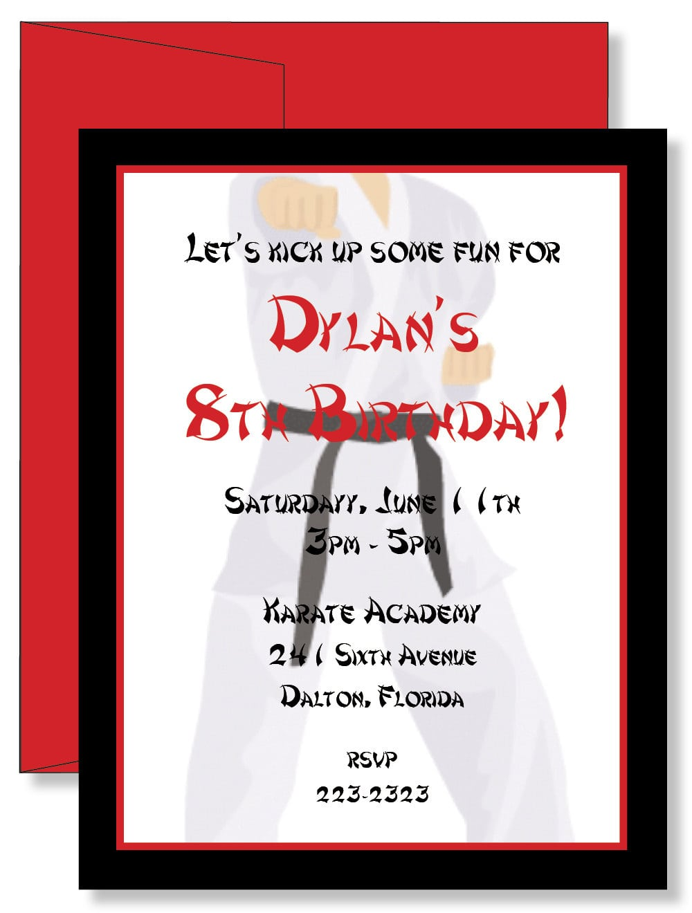 12 Custom Personalized Karate Birthday Party Invitations  $11 00