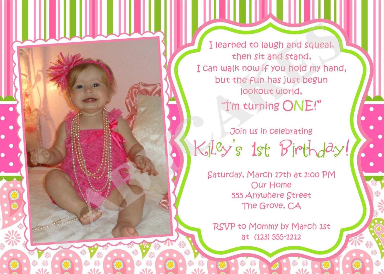 1st Birthday Invitation Sample