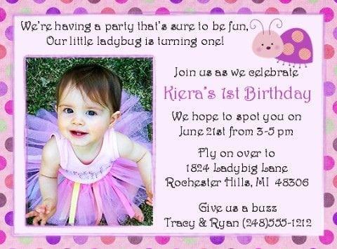 1st Birthday Invitation Wording