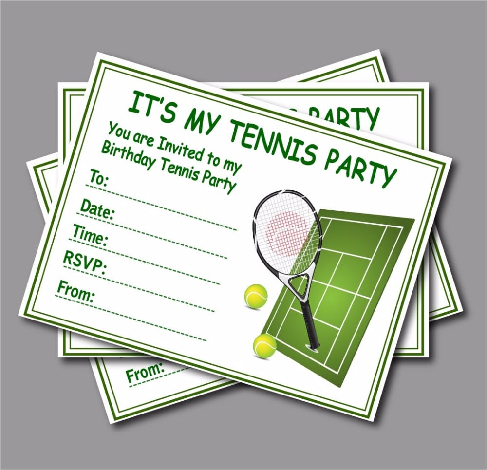 20 Pcs Lot Custom Tennis Birthday Invitation Kids Children Tennis