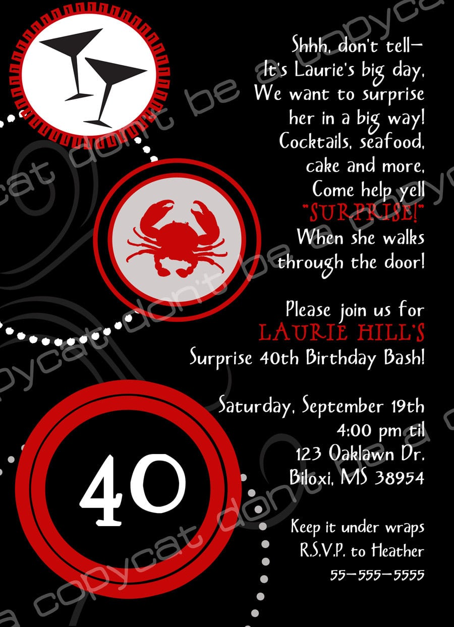 40th Birthday Party Invitation Wording