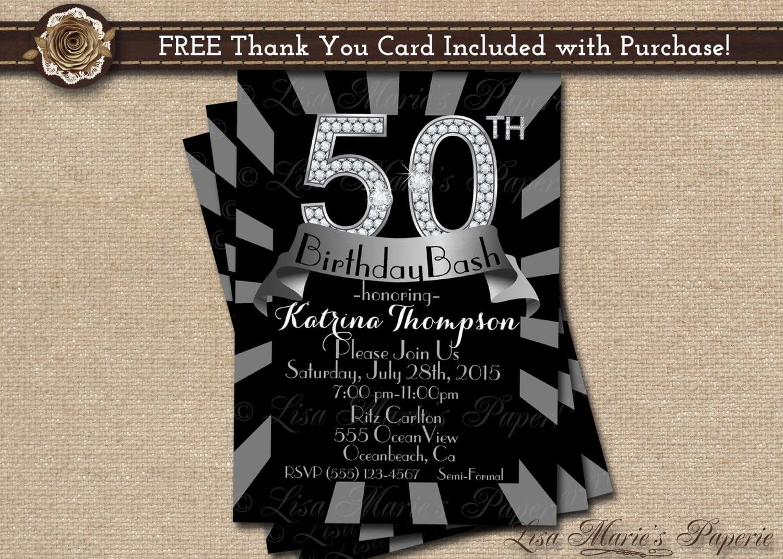50 Birthday Invitation 50th Birthday Party Invitationdiamond