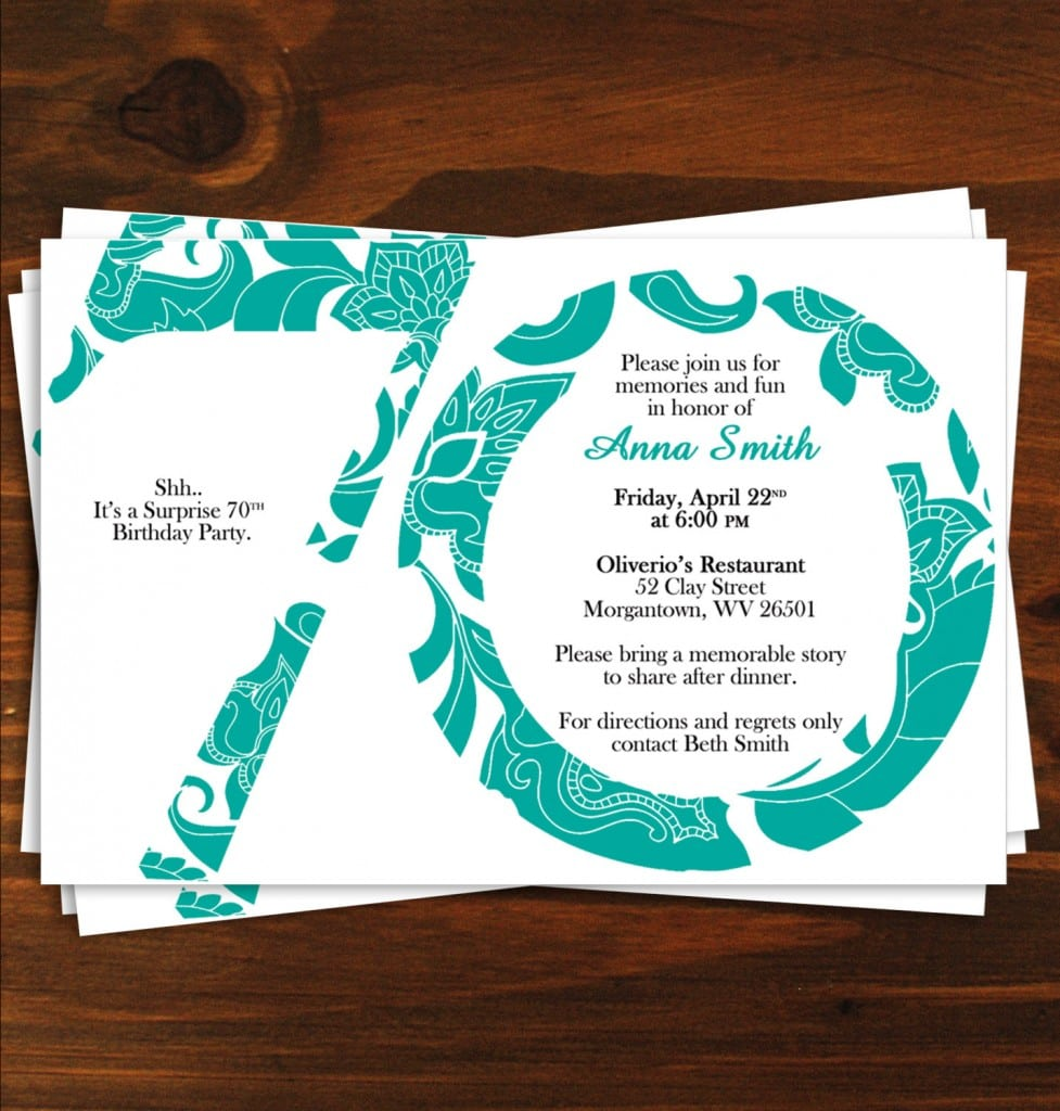70th Birthday Invitation Templates …
