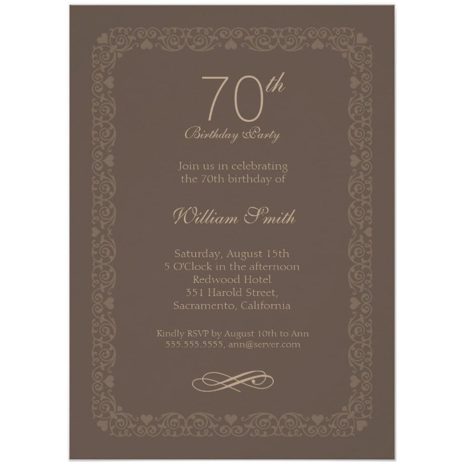 70th Birthday Party Invitations Archives