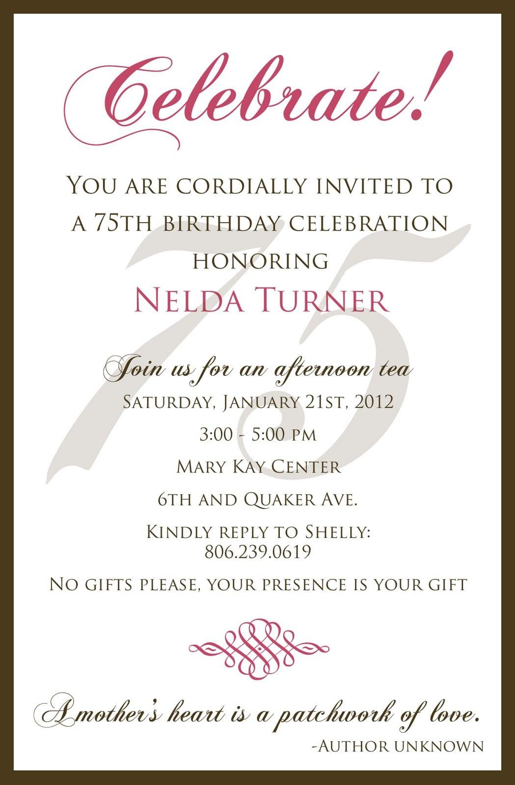 75th Birthday Invitation Wording